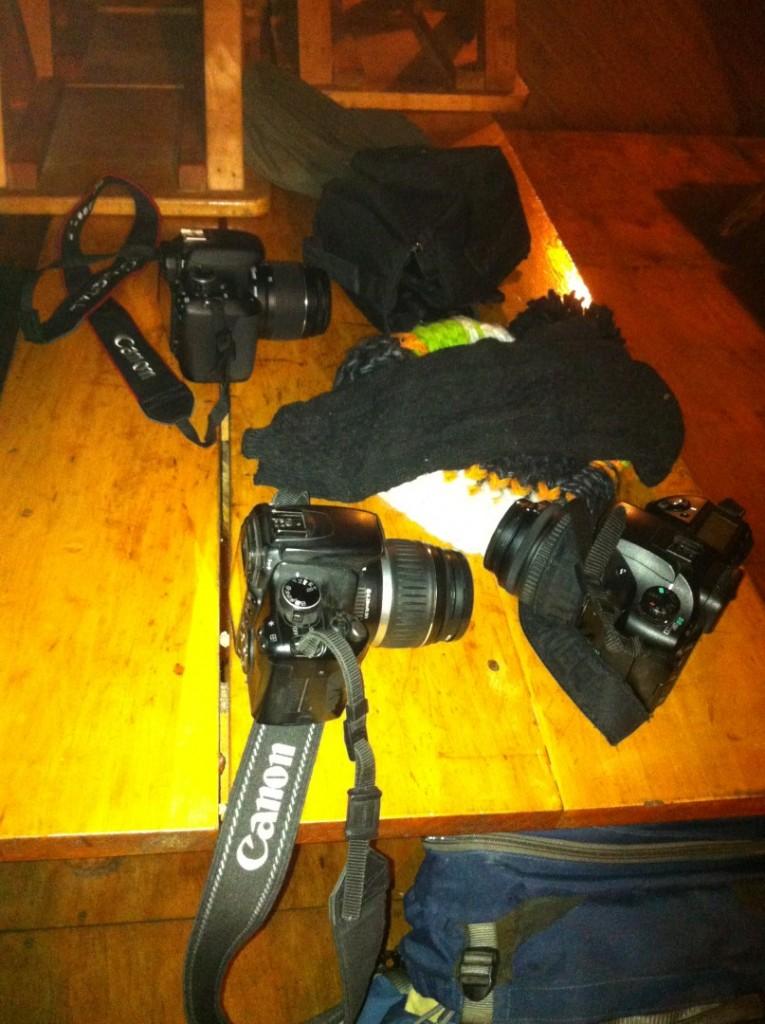 Die versammelte Fotoausrüstung